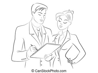 Business people meeting. Outline sketch. Isolated on a white background