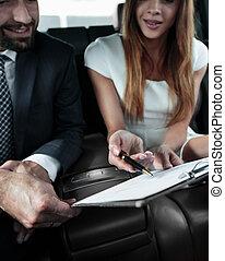 Business People Meeting Working Car Inside