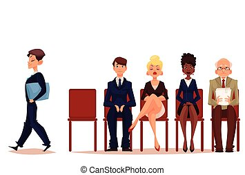 Business people, men and women, waiting for job interview -...