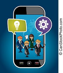 Business people mobile phone world map concept web -...