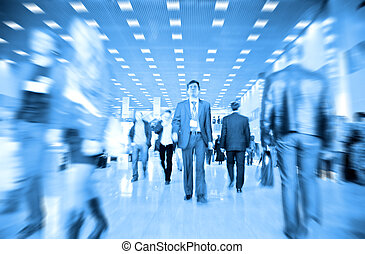 business people motion blur