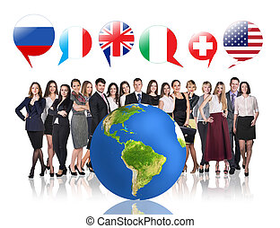Business people near big earth and flag bubbles. Elements of this image furnished by NASA
