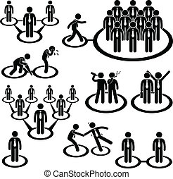 Business People Network Connection - A set of pictogram...