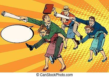 Business people office battle, men riding women, pop art retro vector illustration. Gender inequality