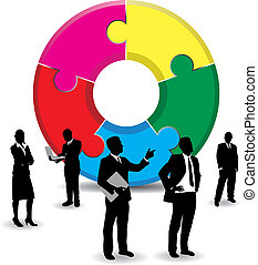 business people on a abstract jigsaw background