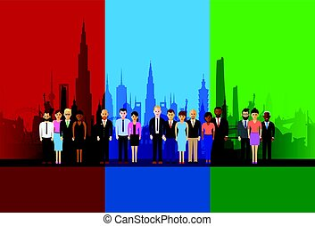 business people on a cityscape