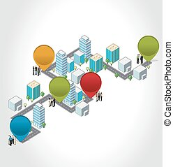 business people on a isometric city