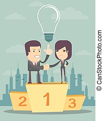 business people on a pedestal
