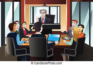 Business people on a video conference - A vector...