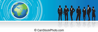 business people on a world banner