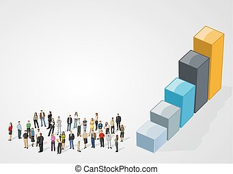 business people on bar chart