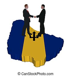 Business people on Barbados map flag