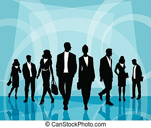 Business people on blue
