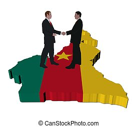 Business people on Cameroon map flag