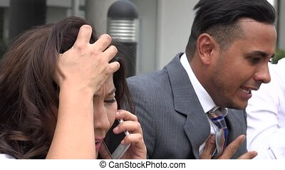 Business People On Cell Phones During Stock Market Crash