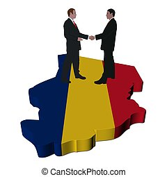 Business people on Chad map flag - Business people shaking ...