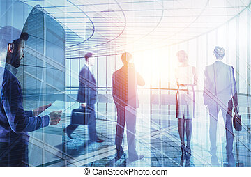 Business people on city background