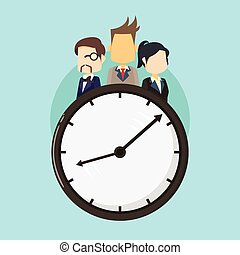 business people on clock