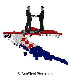 Business people on Croatia map flag