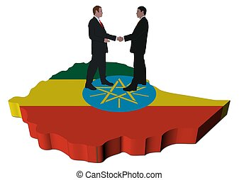 Business people on Ethiopia map flag