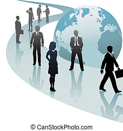 Group of international business people walk a future world path of progress.