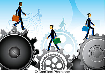 Business People on Gear - illustration of business people...