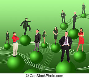 business people on green balls collage