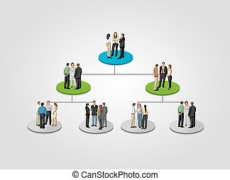 business people on hierarchy tree