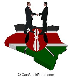 Business people on Kenya map flag