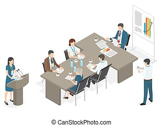 Business People on Meeting at Office Illustration
