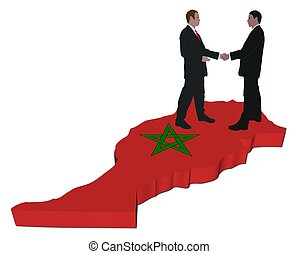 Business people on Morocco map flag