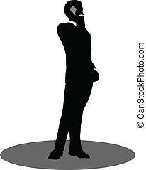 business people on phone standing silhouette