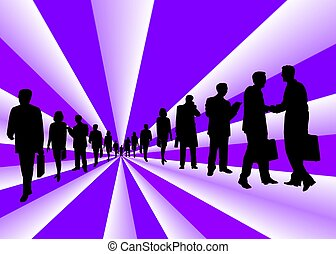 business people on purple stripes