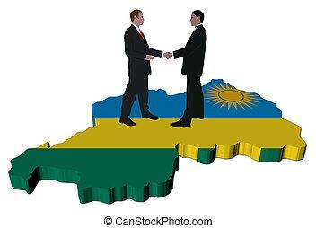 Business people on Rwanda map flag