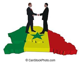 Business people on Senegal map flag