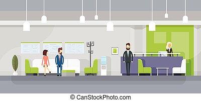 Business People On Sofa, Secretary Reception Wait Meeting Modern Office Interior