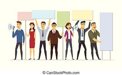 Business people on strike - modern cartoon people characters illustration