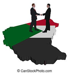 Business people on Sudan map flag