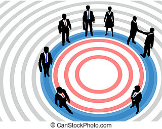 Business people on targeted marketing circle