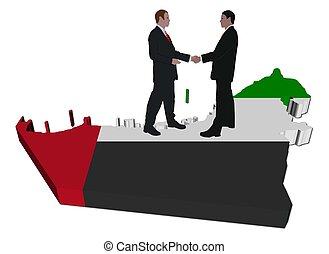 Business people on UAE map flag