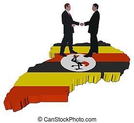 Business people on Uganda map flag