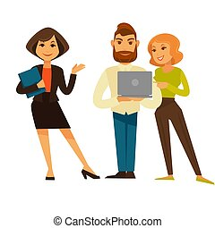Business people or office managers and workers vector flat icons set