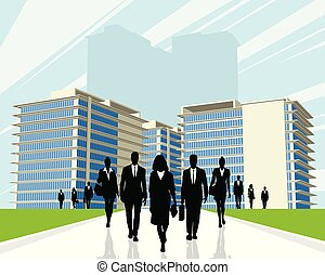 Business people outdoors