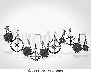 Business people over Cogwheel - Business people over machine...
