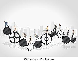 Business people over Cogwheel - Business people over machine...