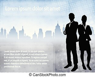 business people over urban background with space for text