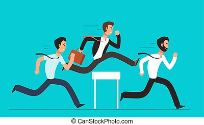Business people overcome hurdles. Steeplechase competition, leadership overcoming vector concept. Success leader run to hurdle illustration