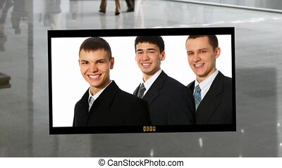 business people photoalbum on business hall background collage