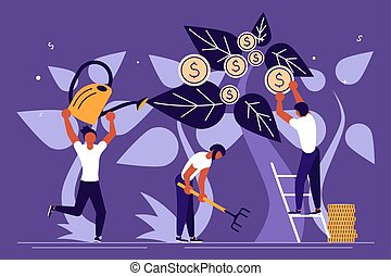 Business people plant a money tree
