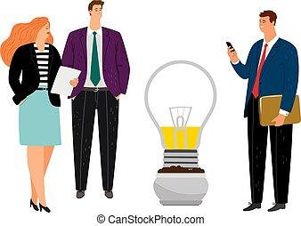 Business people planting idea